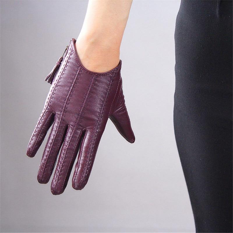 Guantes de pantalla táctil cuero auténtico puro importado piel de cabra borla cremallera estilo corto púrpura oscuro mujer función táctil WZP16