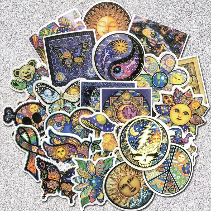 Наклейки AQK 25 шт./лот, цветные наклейки Sun Moon Wish World, наклейки в стиле бохо, богемная наклейка для скейтборда, багажа, ноутбука, гитары, автомобиля