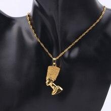 Exotique reine égyptienne Nefertiti pendentif colliers pour femmes hommes bijoux couleur or unisexe collier bijoux africain en gros