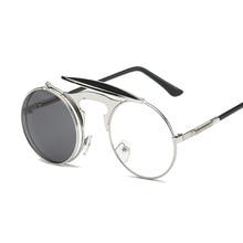 Flip Up Gothic Steampunk Sunglasses Round Brand Vintage Sun Glasses Designer Metal Retro Men Women F