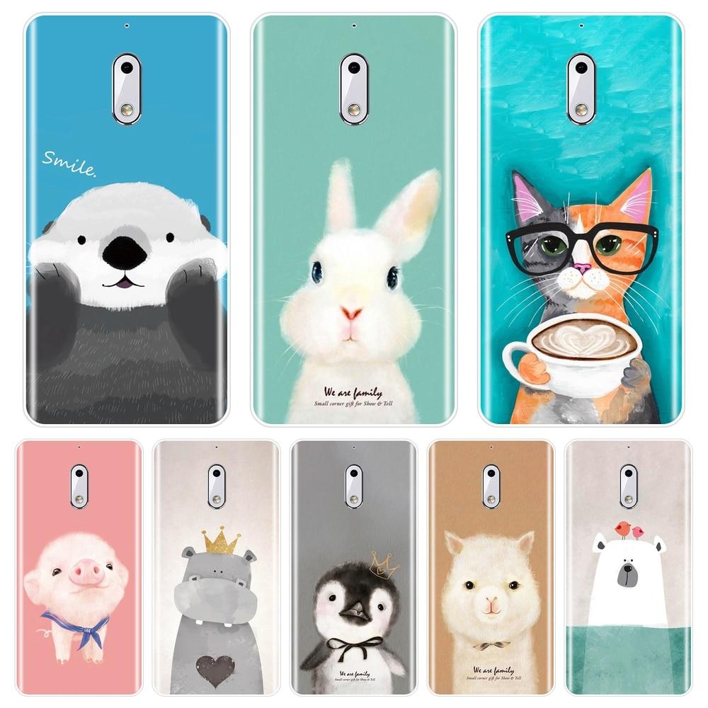 Funda trasera Rosa cerdo gato conejo Alpaca nutria hipopótamo para Nokia 1 2 3 5 6 8 suave funda de silicona para teléfono Nokia X6 7 Plus