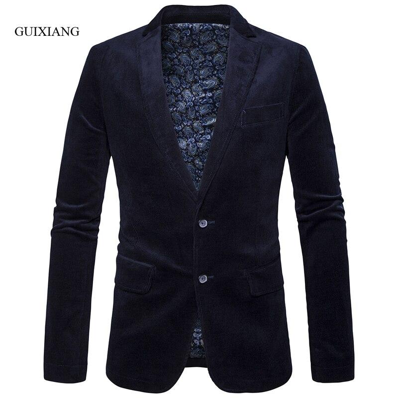 2019 nova primavera e outono estilo dos homens de alta qualidade blazer moda casual corduroy multicolor dois ternos revestimento dos homens singlebreasted