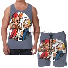 Summer Casual funny print men Tank Tops Women Spirou et Fantasio  men Board beach shorts women sets fitness sleeveless vest