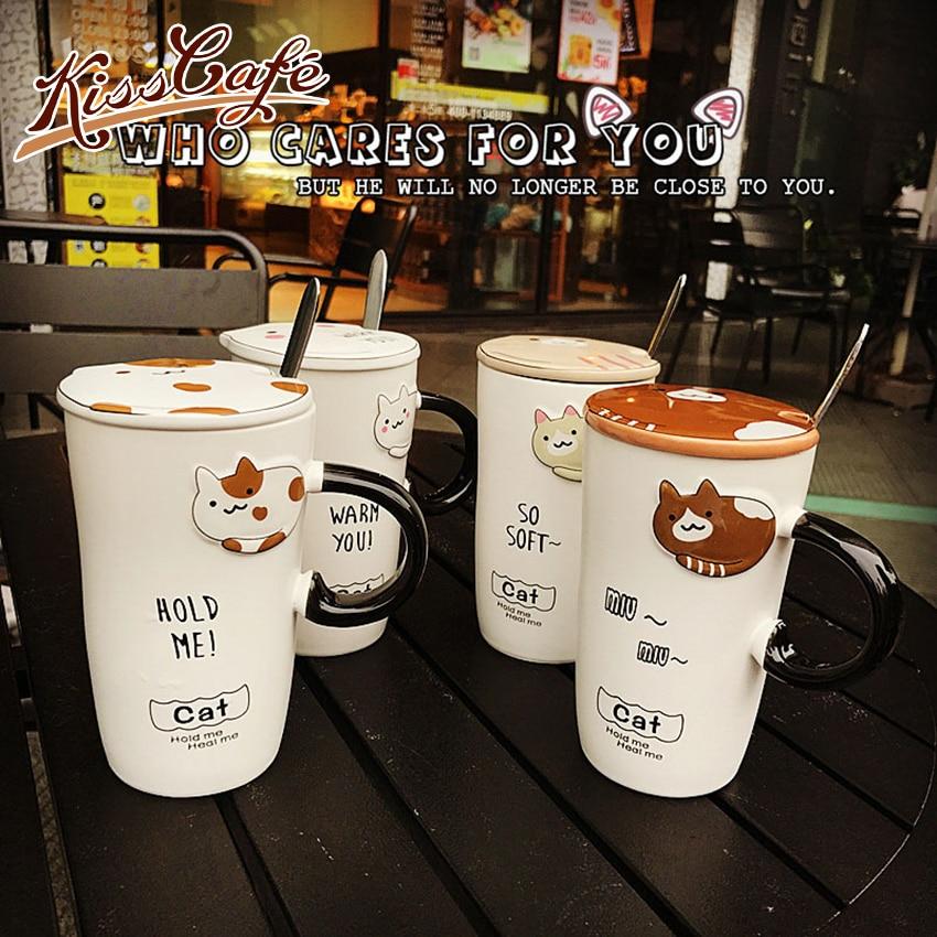Creative Cartoon Cat Ceramic Coffee Tea Cup Heat-Resistant Embossed Cute Animal Milk Mug 450ml With Lid Handle Spoon Office Gift