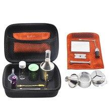 Tabatière ronfleur pochette en cuir PU bouteille de pilule en verre pot de tabac en aluminium moulin à épices en métal
