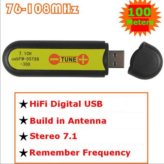 USB placa de som estéreo de 7.1 canais transmissor FM sem fio de 100 metros