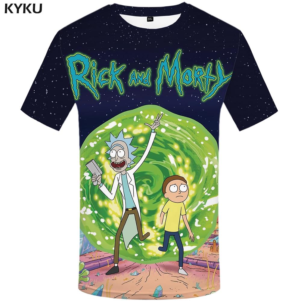 """Футболка с принтом для мужчин KYKU, летняя футболка с 3D-принтом """"Рик и Морти"""", одежда в стиле хип-хоп"""