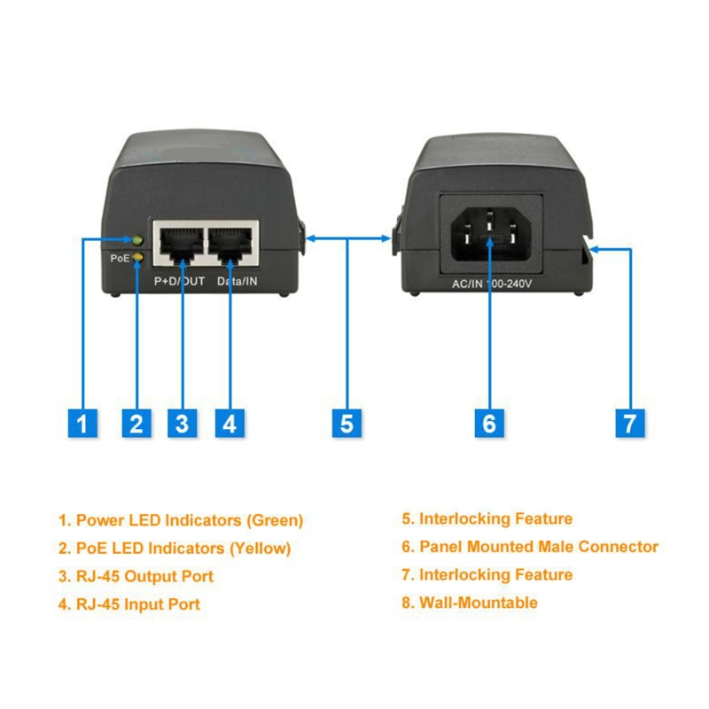 New POE Injector IEEE 802.3af/at Single Port 10/100/1000M 30W Power over Ethernet Gigabit Automatic Detection POE Power Supply enlarge