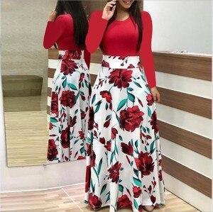 2019 Autumn Hot Sale European American Style Flower Print Color Matching Dress Long dressess Long-sleeve Women Dresses Vestidos