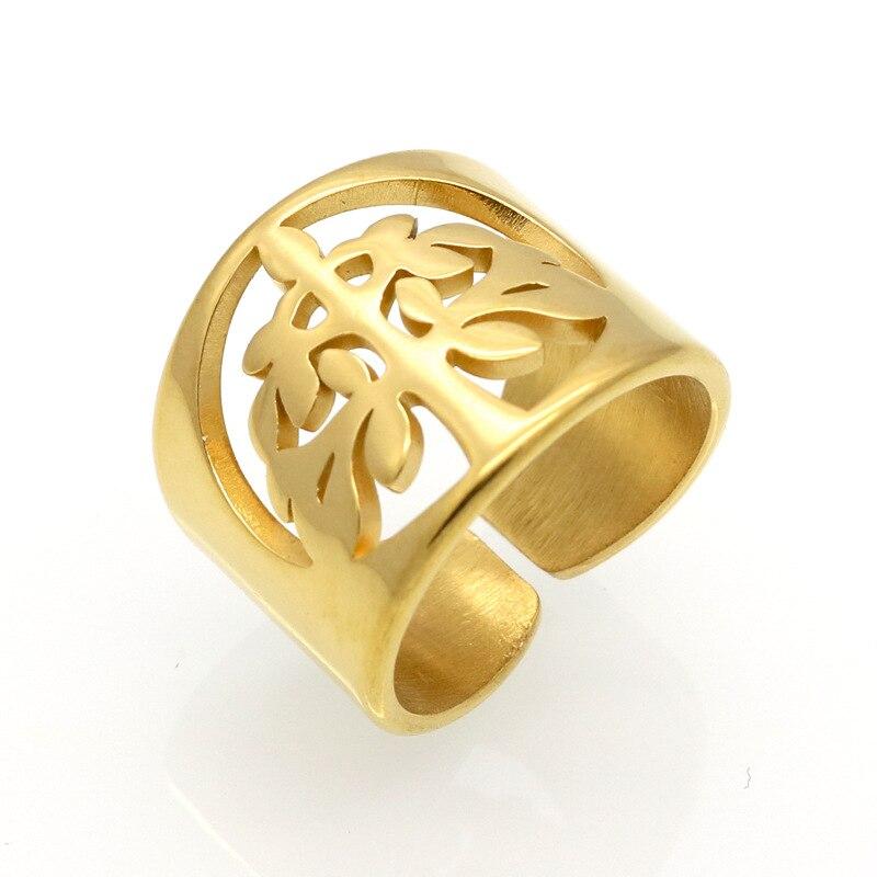 Anillos de acero inoxidable para mujer, disfraz de flores rellenas de oro, joyería única, anillos dedos chicas, joyería de acero inoxidable