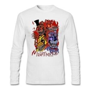 Fashion Men Fnaf 4 - Nightmare T-shirt 90s Maker Tees Fnaf World T Shirts Long Sleeve Graith 100% Cotton O Neck Digital Print
