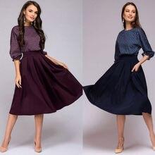 Women Vintage Style Pinup Swing Dress Three Quarter Sleeve Polka Dot Patchwork Dress Evening Party Rockabilly Retro Dresses