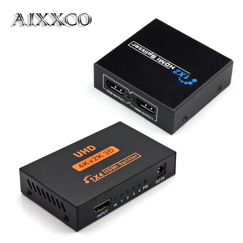Сплиттер HDMI AIXXCO HDCP, Full HD 1080p видео HDMI переключатель, переключатель 1X2 1X4 сплит 1 в 2 выход, дисплей усилителя для HDTV DVD PS3