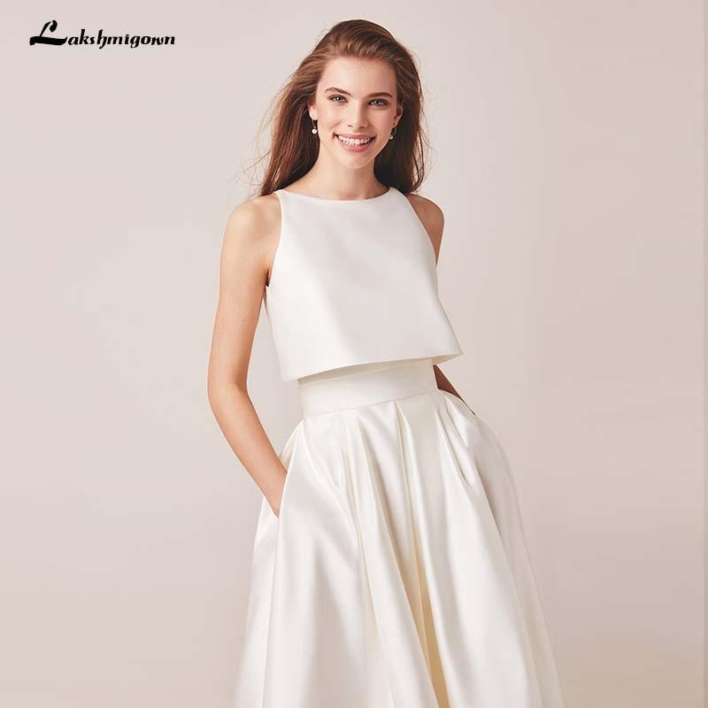 Lakshmigown-فستان زفاف عاجي ، عالي/منخفض ، مع جاكيت ، لينين ، فستان سهرة