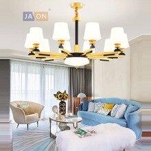 Led e14 Postmodern fer verre noir or blanc lustre éclairage lampara De Techo Suspension Luminaire Lampen pour Foyer