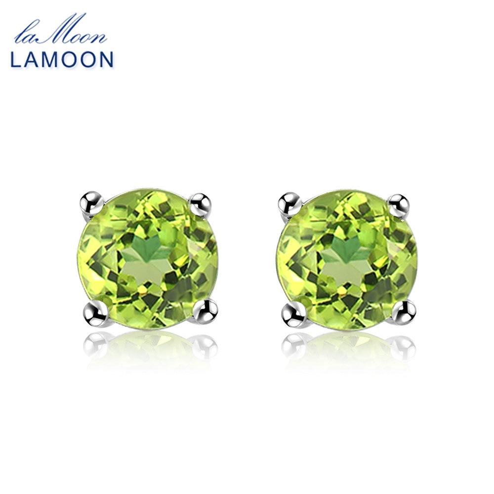 LAMOON 6mm Natural Round Cut Peridot 925 Sterling Silver Jewelry  Simple Stud Earrings S925 For Women LMEI055