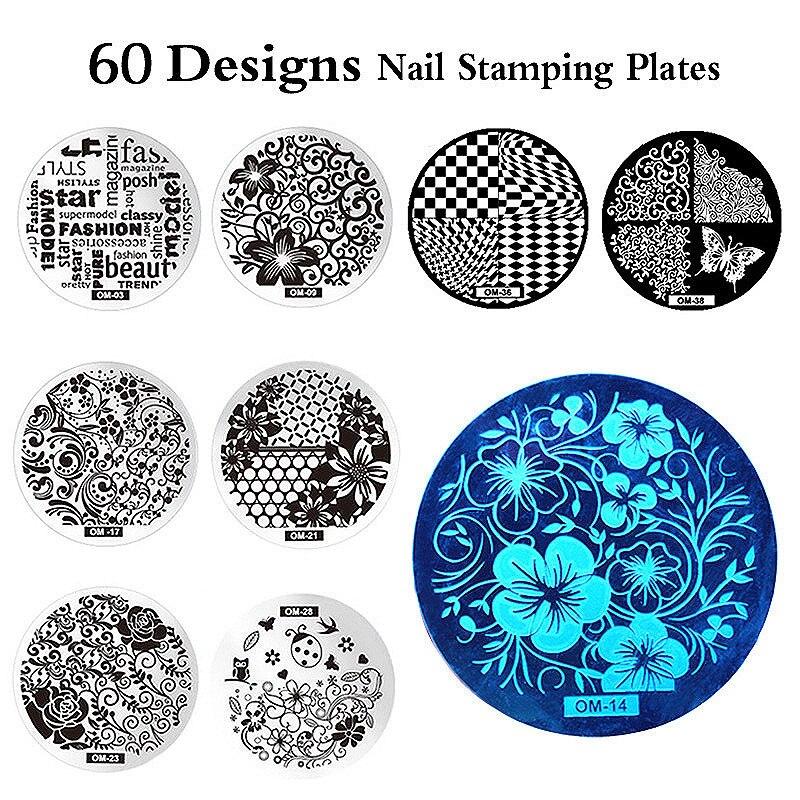 MANZILIN mp0001 OM arte de uñas de sello estampado de conjunto de acero inoxidable DIY uñas esmalte imprimir manicura plantilla para uñas plantilla