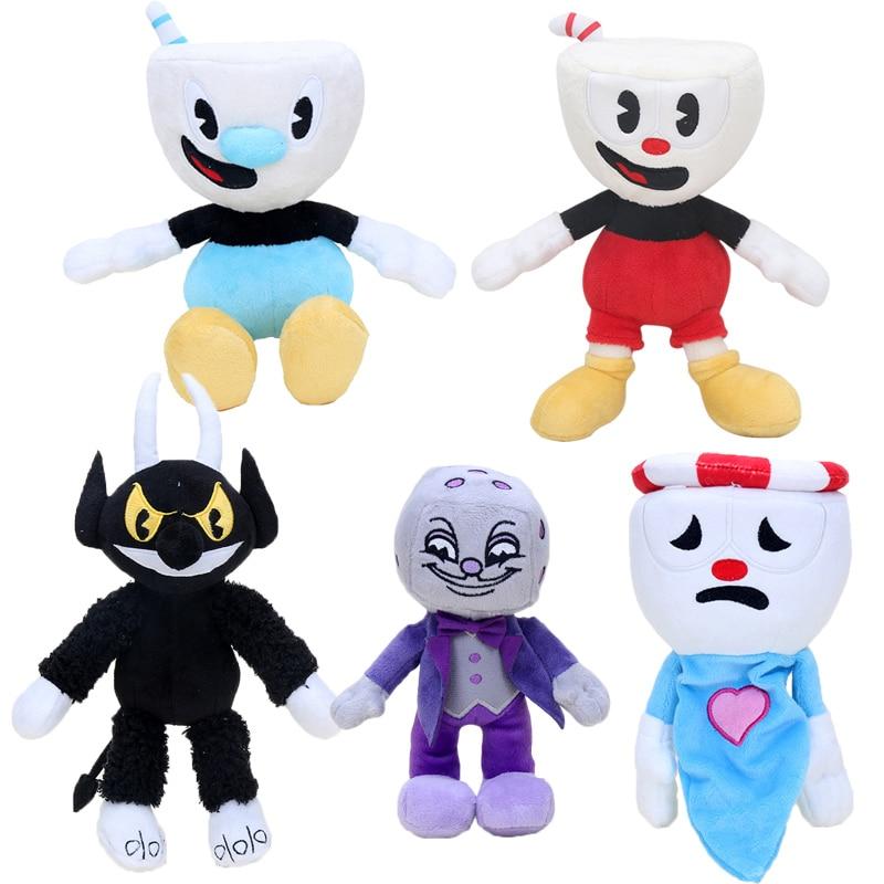 15cm-28cm Game Cuphead Plush Toy Mugman the Devil Legendary Chalice King Dice Stuffed toys plush doll Cuphead keyrings pendant