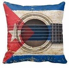 Joy City-guitare acoustique ancien   Avec drapeau cubain, Style Vintage, deux côtés, carré avec fermeture éclair, taies doreiller dimpression de luxe