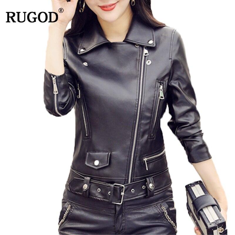 RUGOD 2019 New Fashion Female Leather Coat Moto&Biker Style Zipper Turn-down Collar Sashes Long Sleeve Trench Coat For Women