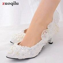 Classice blanc dentelle strass perle chaussures de mariage femme pompes femmes chaussures talons hauts bas chaussures de mariée femme chaussures #65