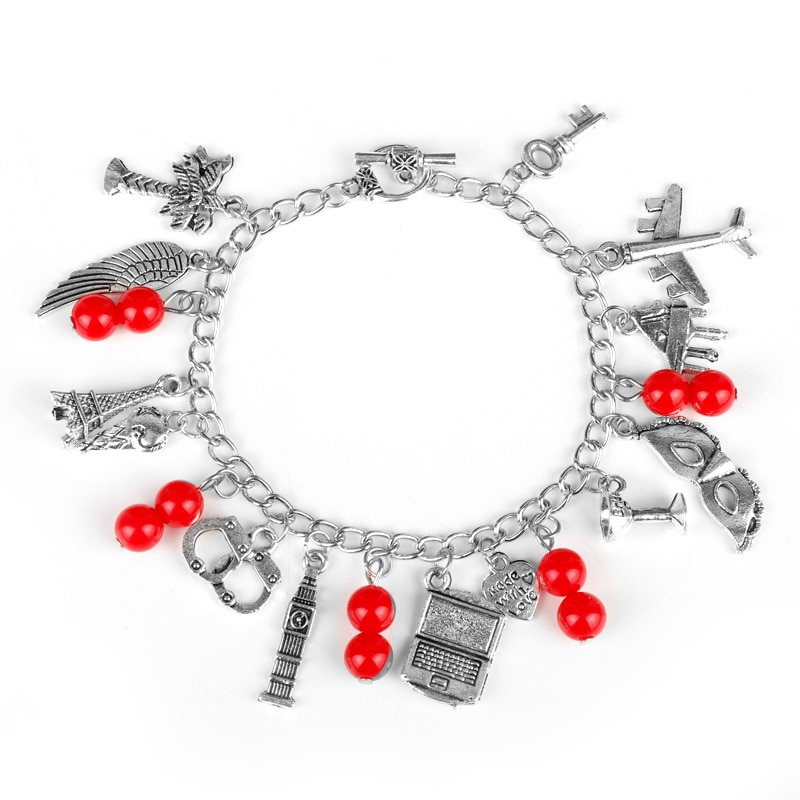 Cincuenta sombras de gris mujeres moda encanto pulsera inspirado 50 sombras encantos corbata esposas gris pulseras Crime Bracelet-25