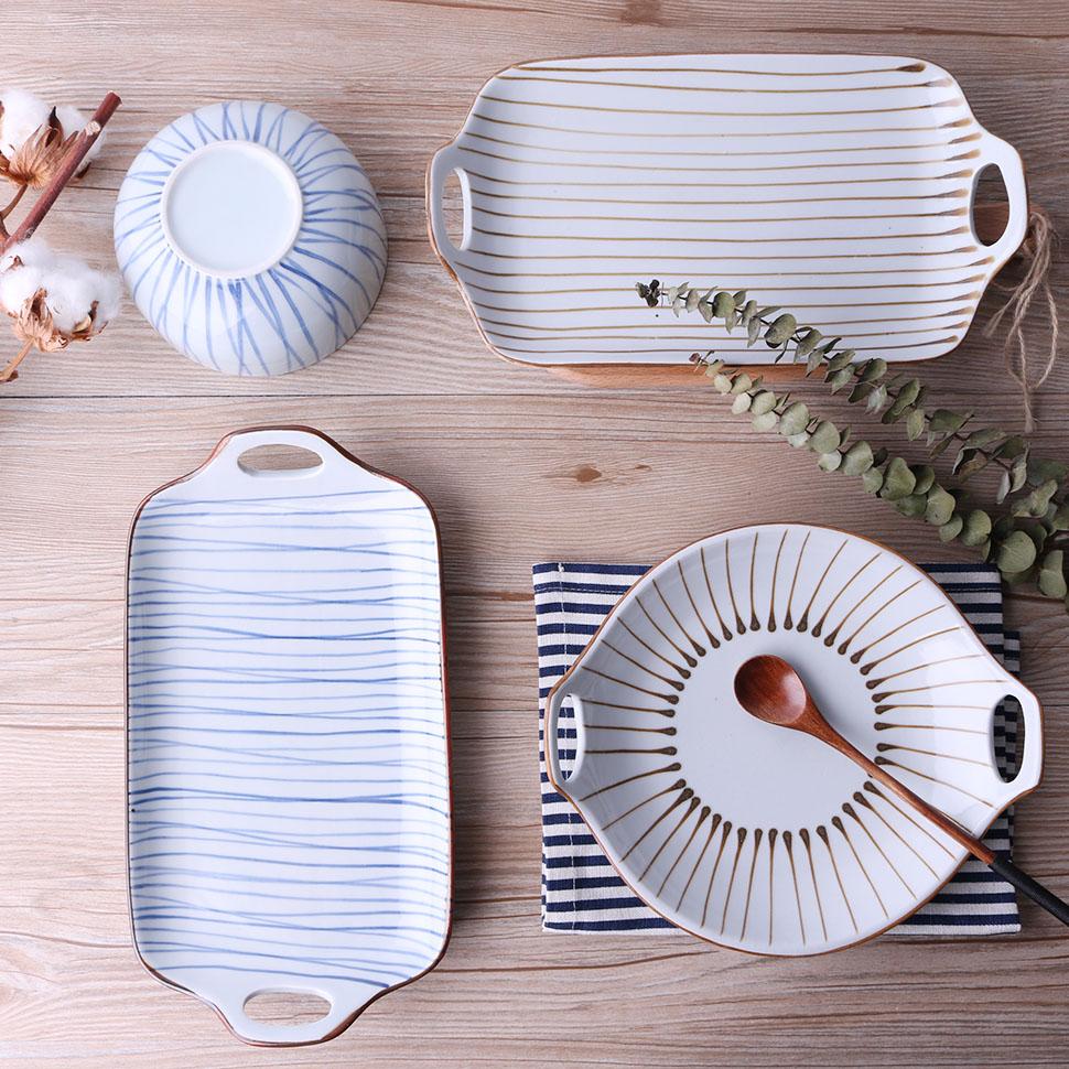 Platos de pintura a mano, juegos de vajilla de platos de comida, platos azules de línea fina, bandeja de porcelana, bandeja Rectangular de doble oreja