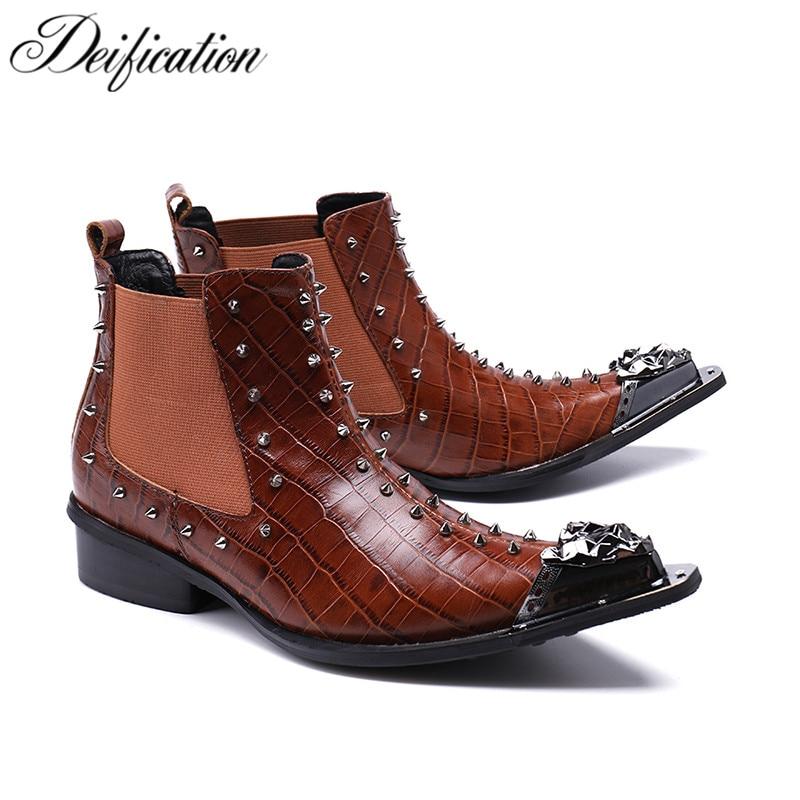 Deiation-أحذية عصرية مدببة ، أحذية غربية للدراجات النارية ، برشام مرصع ، أحذية عسكرية للرجال ، مقاس كبير