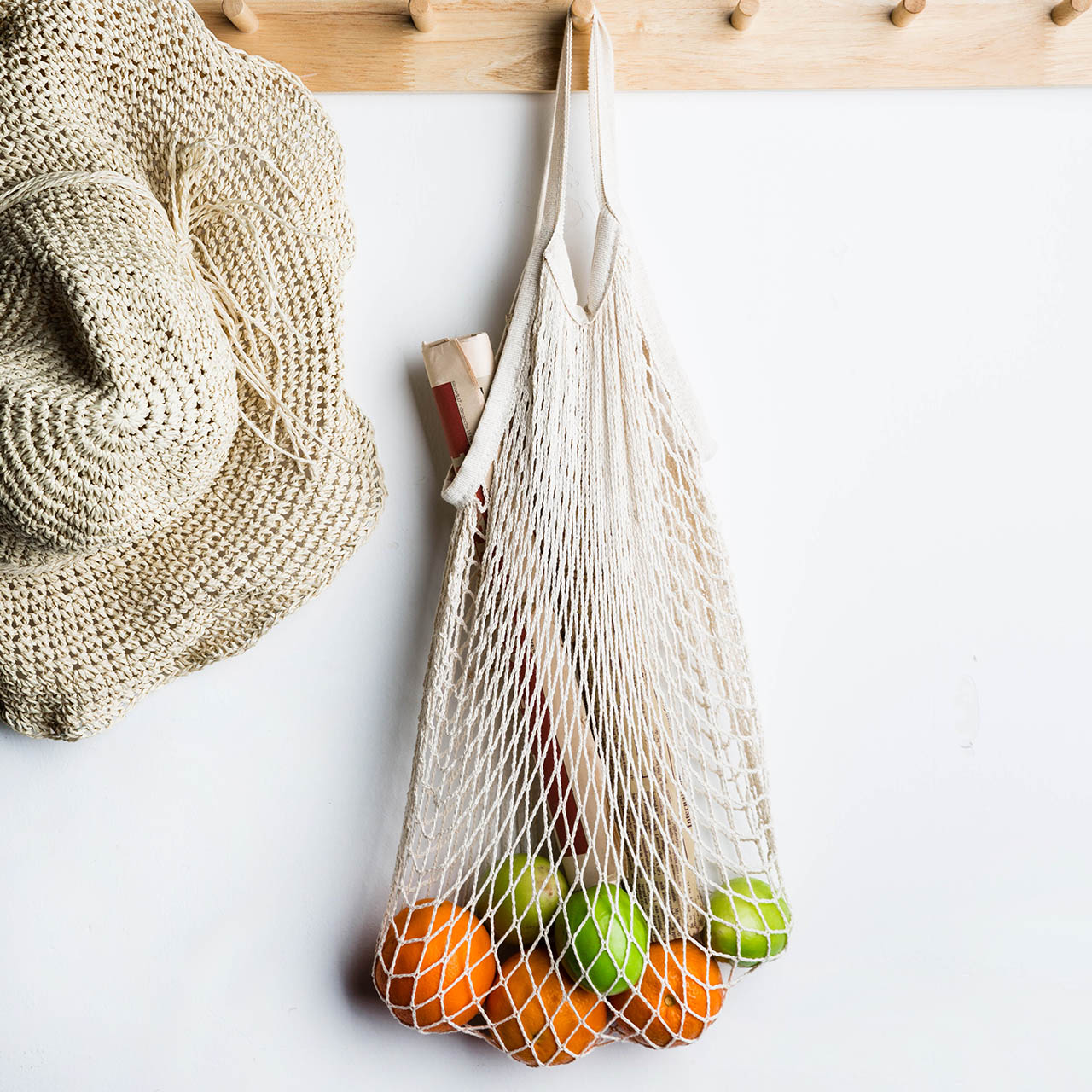 Reutilizable de bolsa de compras para verduras de bolso de mano de algodón bolsas de malla tejida red colgando bolsa de almacenamiento para cocina organizador