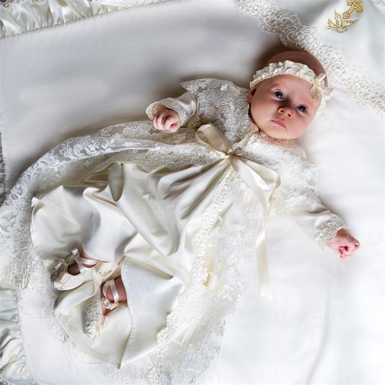 Vestidos de bautizo para bebé niña, de manga larga, hasta el suelo, de encaje, vestidos de bautismo para bebé con tocado