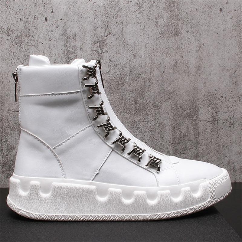 الشارع الاتجاه الرجال الأحذية لقطة حقيقية جديد معدن الرجال عالية أعلى عارضة أحذية الرجال احذية رياضية أحذية اليومية الأبيض الهيب هوب الشباب