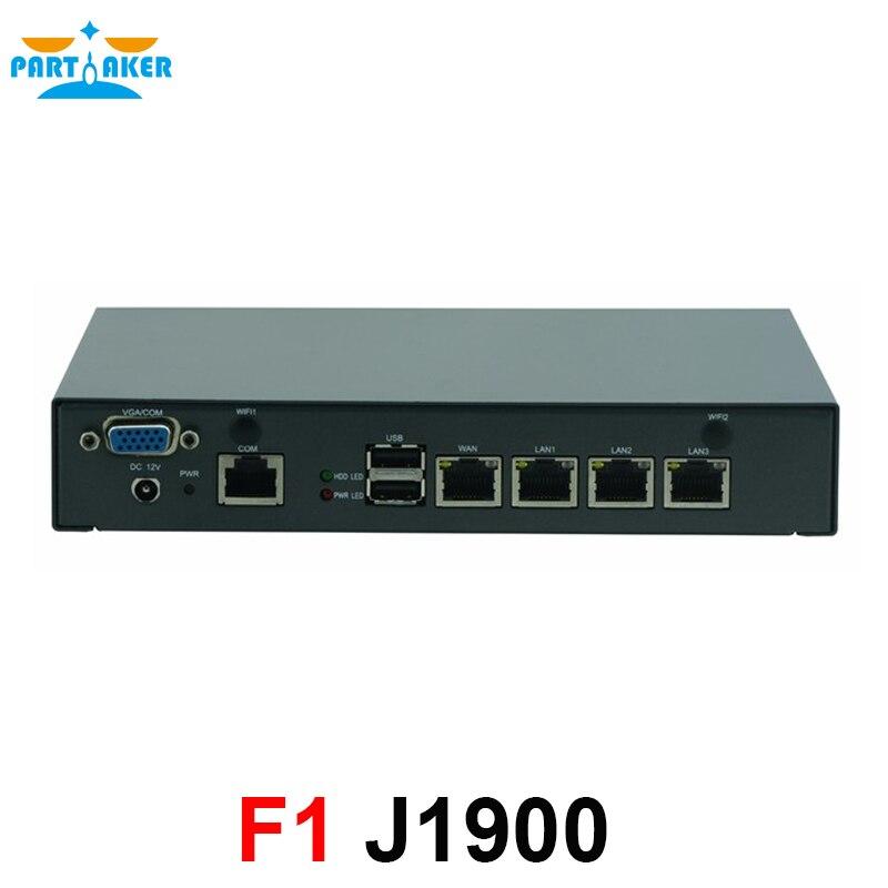 Partaker F1 PfSense خادم الشبكة إنتل سيليرون J1900 4 LAN بدون مروحة جهاز كمبيوتر صغير شبكة الأمن