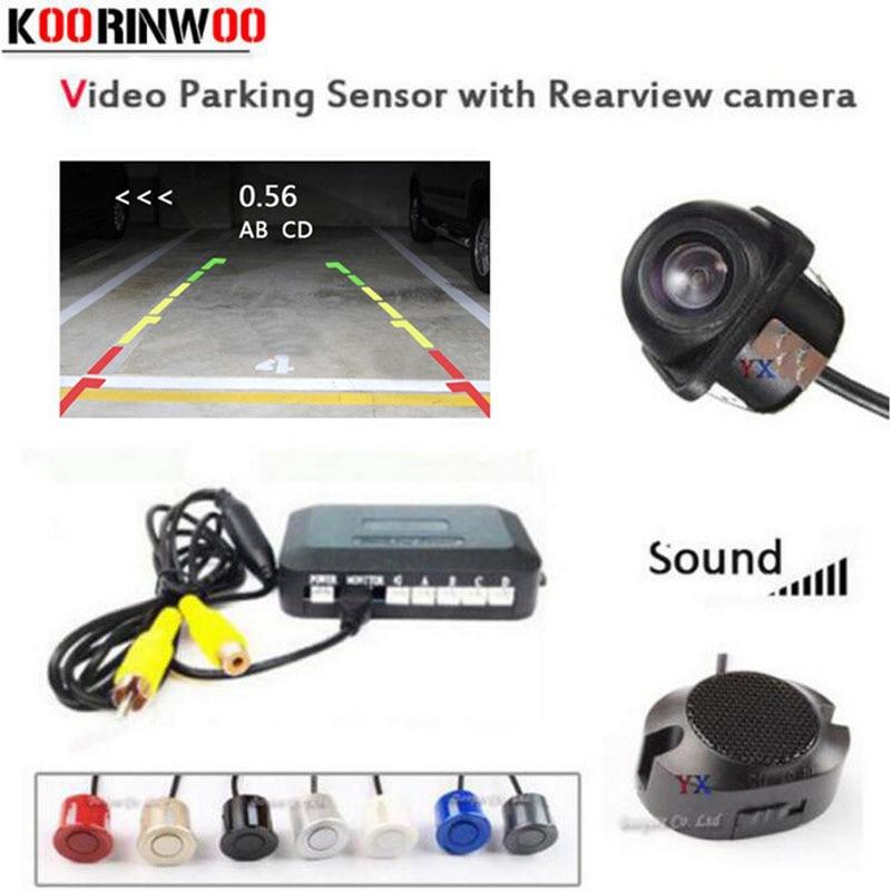 Koorinwoo CPU de doble núcleo Sensor de aparcamiento para coches 4 zumbador Radar vista trasera de coche cámara de reversa detector con cámara Parktronic asistencia de estacionamiento