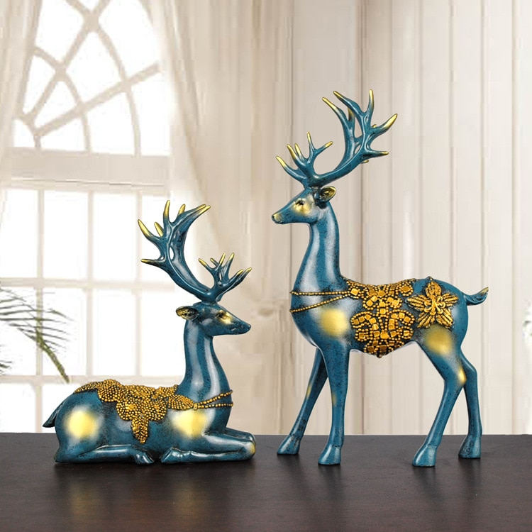 2PCS/Set Creative European Couple Elk Ornaments Resin Craft Gifts High-end Home Decoration Ornaments
