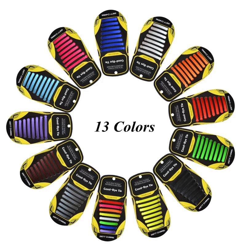 16 pçs elásticos cadarços de sapato de silicone laços sem gravata criança adulto unissex plana cadarço conveniente lazer tênis cadarços preguiçosos