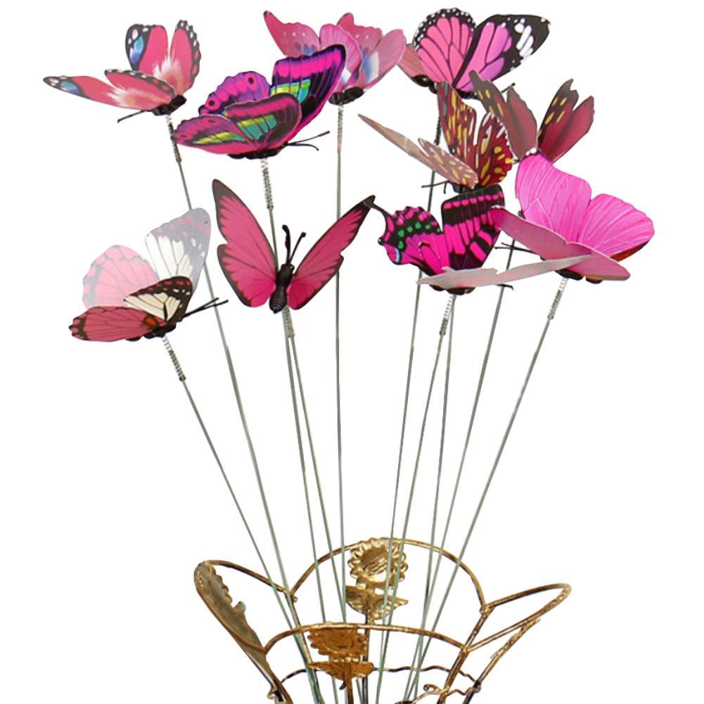 40 # gran oferta 10 unids/set mariposa artificial palo al aire libre jardín maceta decoración ornamento jardinería suministros