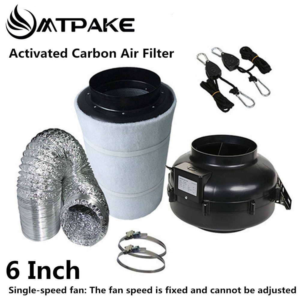 Tienda de cultivo para ventiladores centrífugos de 6 pulgadas y filtro de aire de carbón activado para invernadero LED tienda de cultivo hidropónico HPS/MH Luz de cultivo