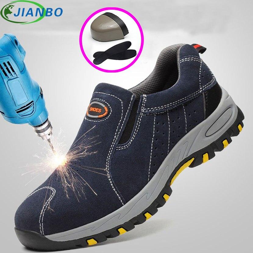 Punta de acero de seguridad zapatos de trabajo zapatos de los hombres 2018 de moda de verano zapatillas transpirable de deporte botas informales hombre de cuero a prueba de trabajo protección zapato