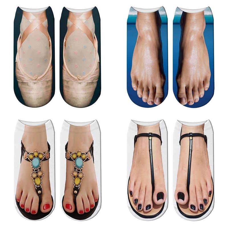 New Funny 3d Print Rainbow Ballet Shoes Socks Cute Women Slippers Socks Flip Flop Toe Mujer Fashion Cartoon Sox