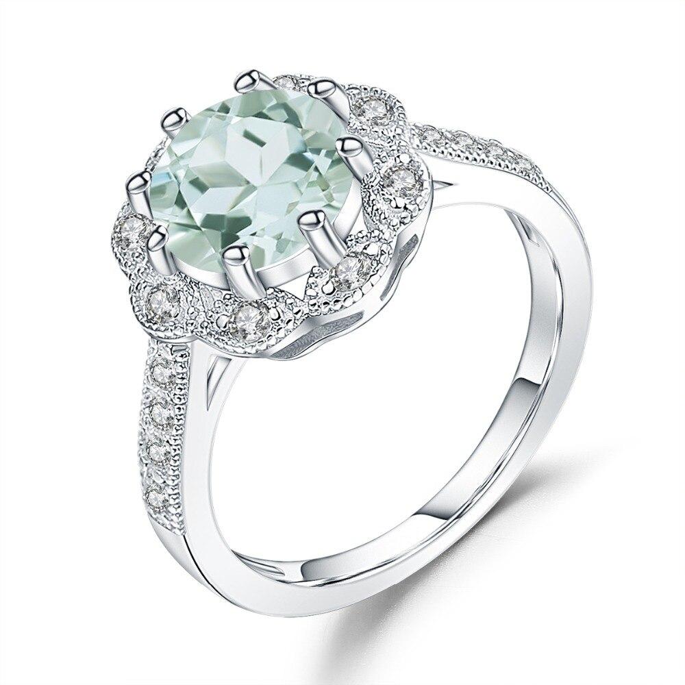 GEMS BALLET-bague de fiançailles en améthyste vert naturel, bague de fiançailles en argent Sterling 925 pour femmes, bijoux fins, cadeau, 2,04 ct