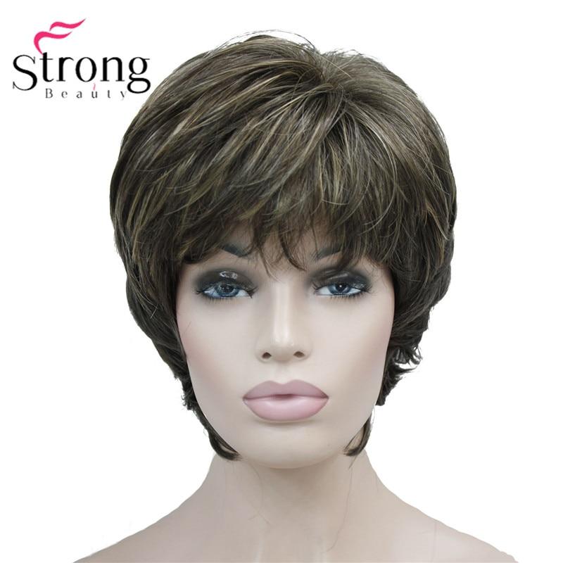 StrongBeauty/короткий многослойный коричневый классический парик, синтетические женские волосы на выбор