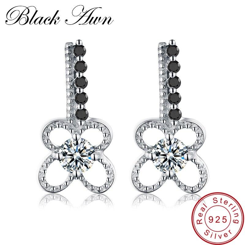 [Negro AWN] 1,8g 925 joyería de plata esterlina de moda negro espinela flor pendientes de boda para las mujeres T081