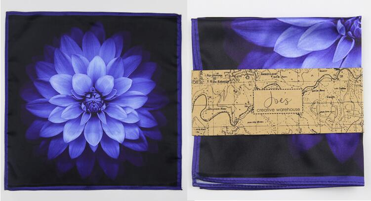 Free shipping mens fashion men's male Printed bow tie pocket towel men women married groom best man British blue flower