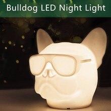 لطيف الفرنسية بلدغ ضوء الليل للأطفال 7 اللون تغيير الكلب شمعة USB بجانب ضوء المصباح الكلب لغرفة النوم عيد الميلاد