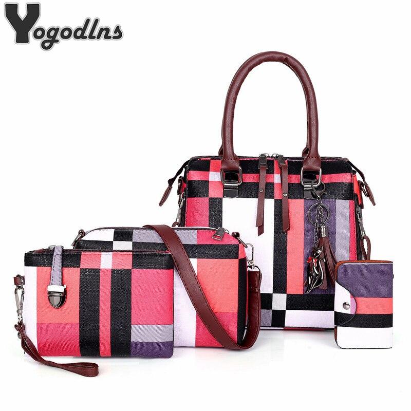 Роскошные сумки, клетчатые женские сумки, Дизайнерские Сумочки с кисточкой 2020, комплект сумочек из 4 предметов, композитный клатч для женщин, Bolsa Feminina