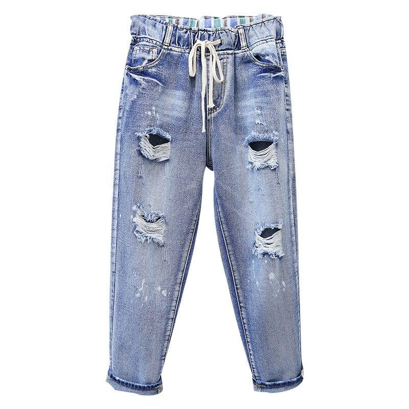 Plus Size 5XL Vintage Boyfriend Jeans For Women High Waist Mom Jeans Casual Loose Ripped Hole Trousers Woman Harem Denim Pants недорого