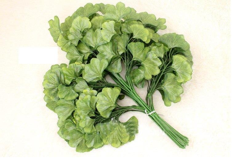 12 piezas 60 cm verde Ginkgo Biloba Maidenhair hojas de árbol rama de seda Artificial para la decoración del Hotel de la Oficina del hogar de la boda