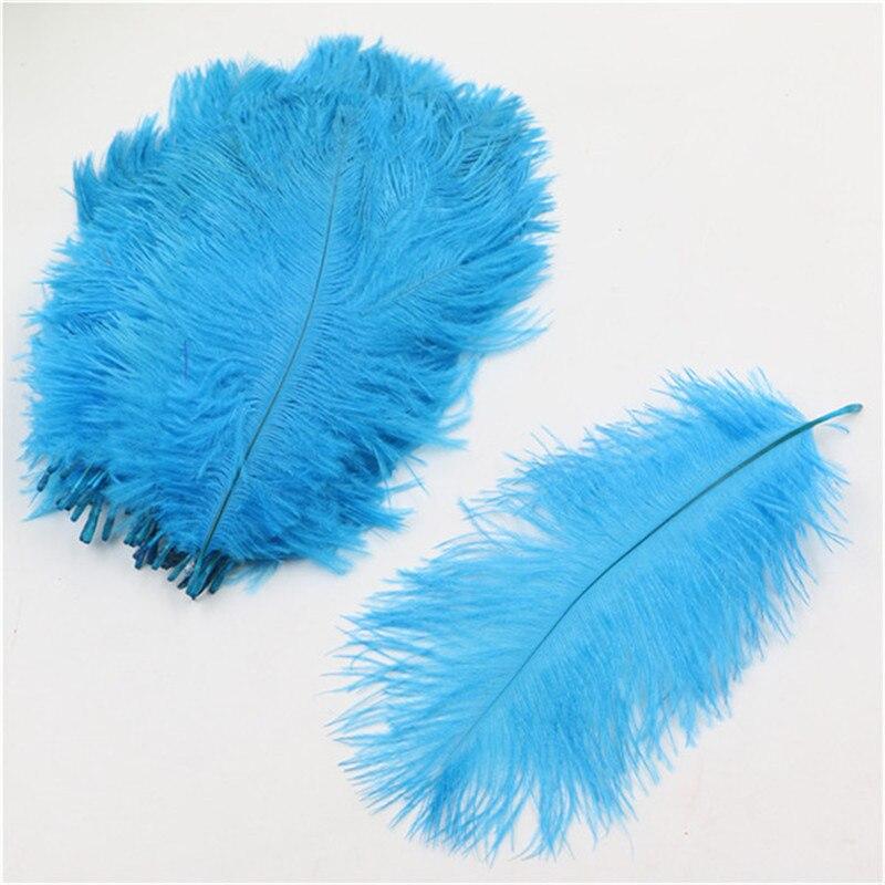 "wholesale 100pcs peacock blue mini ostrich plume wedding supplies ostrich feather 6-8""/15-20cm"