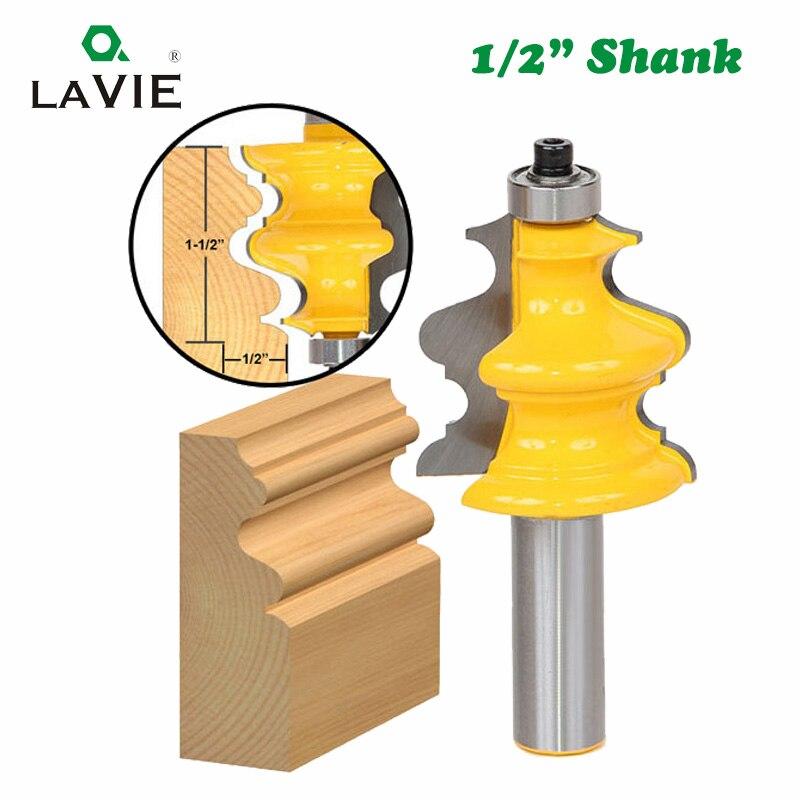 LAVIE, 1 unidad, 12mm, 1/2 pulgadas, vástago, molde arquitectónico de línea, enrutador, broca para carpintería, corona, fresa para madera, fresa facial, 03081