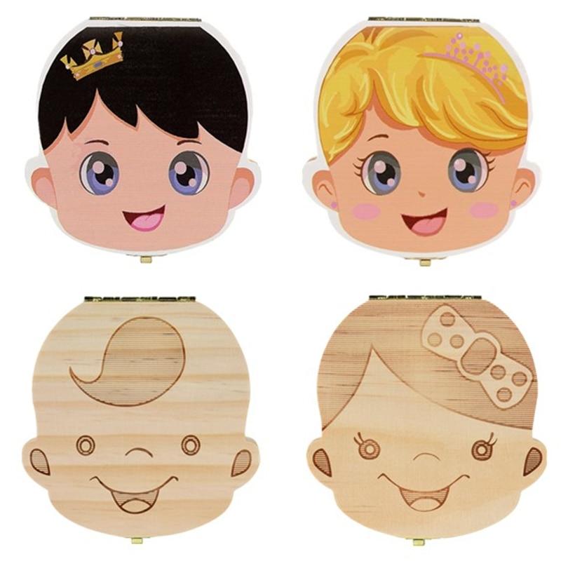 Деревянная коробка для зубов органайзер для хранения зубов для детей Подарки для хранения зубов пуповина язык испанский, английский и русский